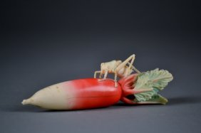 Outstandingly Carved Polychrome Ivory Radish W/ Fin