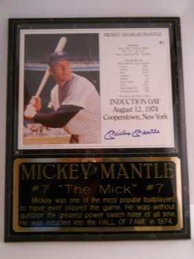 MICKEY MANTLE SIGNED PLAQUE WITH PHOTO