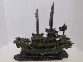 CHINESE JADE DRAGON SHIP,GREEN JADE,DRAGON BOAT