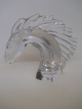 CRYSTAL HORSE HEAD ,SIGNED DAWN FRANCE ,LRG