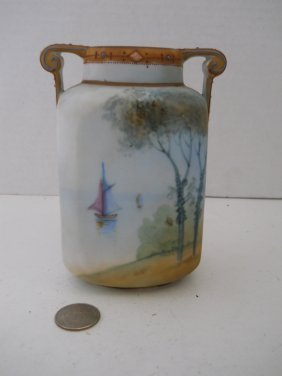 ANTIQUE NIPPON HANDPAINTED VASE SIGNED