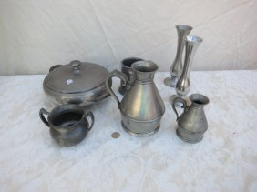 ANTIQUE PEWTER COLLECTION LOT,8PC