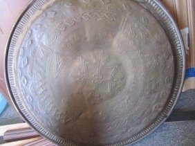 BRASS PLATTER /HAND PUNCHED ETCHING