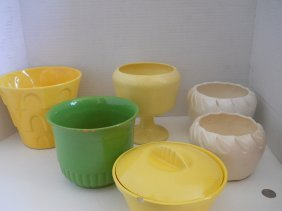 MIXED VINTAGE  POTTERY LOT 7PC,YELLOWS