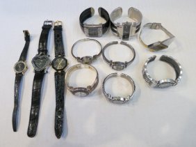 VINTAGE WATCH LOT, LEATHER & CUFF 11pc