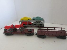 VINTAGE TRAIN CAR SET, HAULER CARS, 3pc
