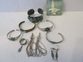 JEWELRY LOT, STERLING SILVER, TURQUOISE