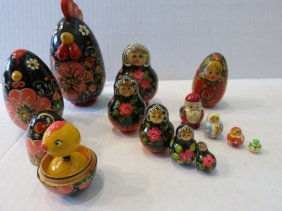 RUSSIAN HAND PAINTED NESTING CUPS,ROOSTER,LOT