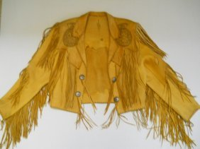 FRINGED LEATHER JACKET LADIES,MED