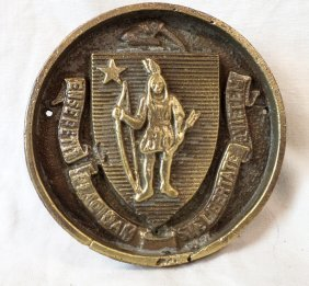 Bronze Plaque With Massachusetts Coat Of Arms
