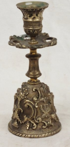 Bronze Candlestick With Bell And Coat Of Arms