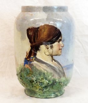 Antique Vase With Gipsy Woman Portrait