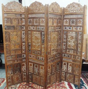 Chinese Wooden Carved 4 Panel Screen