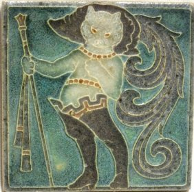 """""""the Booted Cat"""" Majolica Tile"""