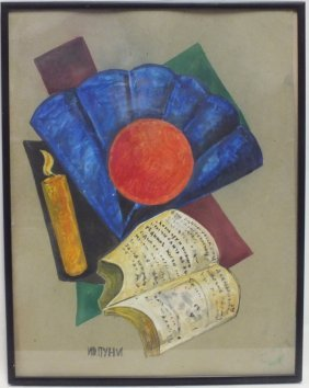 "Ivan Puni (russian) ""composition With Book And Candle"""