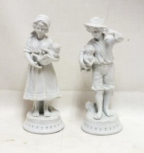 Pair Of French Genuine Buisquit Bisque Figurines