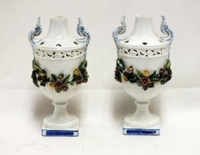 Pair Of Italian Nove Porcelain Urns