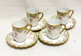 Lot Of 4 Limoges Cups And Saucers