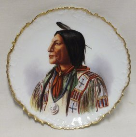 Wonderful B&h Limoges Plate With Indian Chief Portrait
