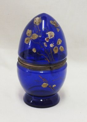 Victorian Glass Egg With Decanter And 6 Glasses