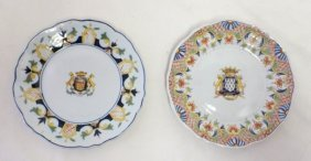 Pair Of Early Armorial Plates