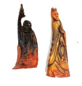 Pair Of Chinese Carved Bone Figurines