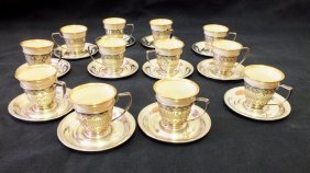 Set Of 12 Lenox Demitasse Cups With Alvin Sterling