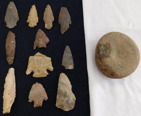 Discoidal Chunkee Stone & Texas Arrowheads