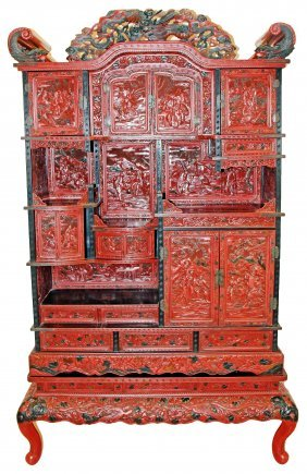 CINNABAR LACQUER STYLE CABINET, JAPANESE, 19th CENTURY