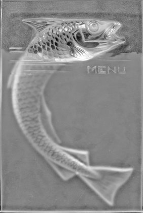 "RENE LALIQUE CLEAR AND FROSTED GLASS ""POISSON"" MENU"