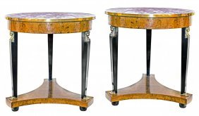 PAIR EMPIRE STYLE GILT-BRONZE MOUNTED SIDE TABLES