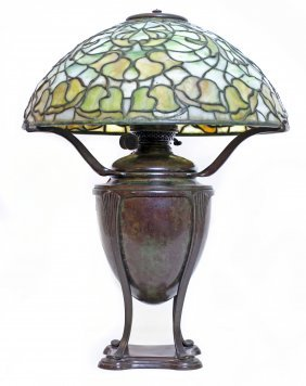 TIFFANY STUDIOS LEADED GLASS AND BRONZE �BELL FLOWE