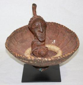 Diviner's Calabash With Torso Figure - Carved Wood.