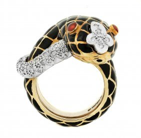 David Webb Enamel And Diamond Ring