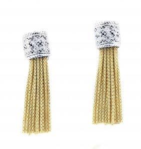 Pair Of 18 Karat Gold Diamond Earclips