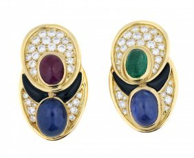 Cabochon Ruby, Sapphire,emerald And Diamond Earclips