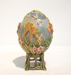 Jay Strongwater Enameled Bronze Meadow Egg