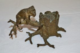 VIENNA BRONZE MONKEY ON BRANCH INKWELL SIGNED