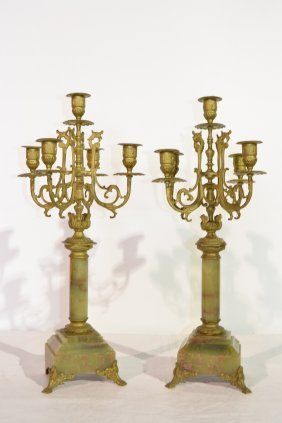 (Pr) 5-CANDLE BRONZE & ONYX CANDELABRAS WITH