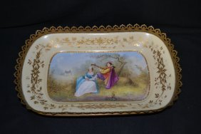 HAND PAINTED ROMANTIC SCENE SEVRES STYLE BOWL