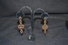 14kt CHANDELIER EARRINGS WITH GARNET DROPS