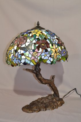 LEADED GLASS LAMP WITH BRANCH FORM BASE