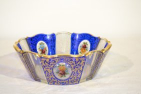 """MOSER STYLE BOWL WITH FLORAL MEDALLIONS - 8"""" X 3"""""""