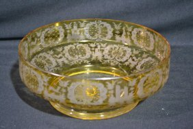"""ETCHED AMBER BOHEMIAN BOWL - 10 1/4"""" X 4"""""""