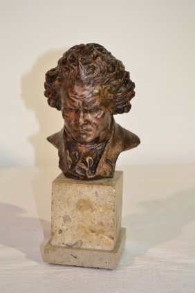 BEETHOVEN BUST ON MARBLE SIGNED FIDE LUCA