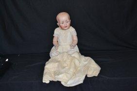 HERTEL & SCHWAB SOLID DOME BABY BISQUE HEAD DOLL