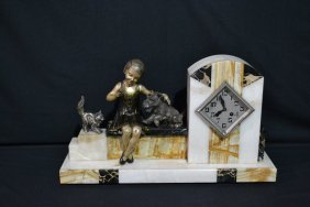 ALABASTER & MARBLE FRENCH DECO MANTLE CLOCK WITH