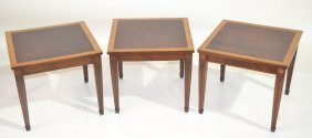 "(3) BANDED MAHOGANY TABLES - 18"" X 16"""