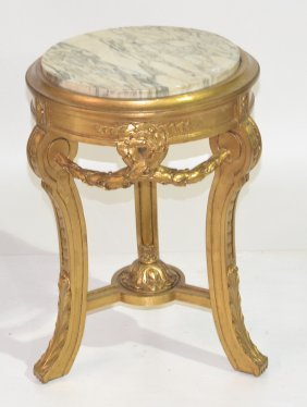"GILT ITALIAN MARBLE TOP STAND - 17"" X 24"""