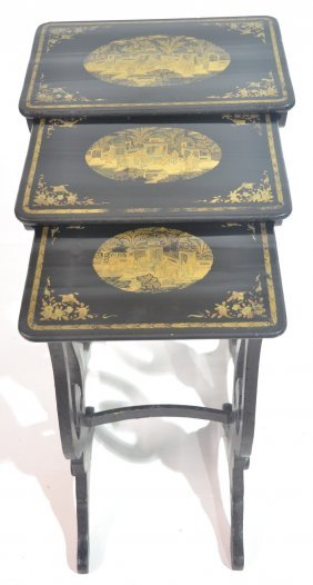 SET OF (3) CHINESE EXPORT CHINOISERIE NESTING